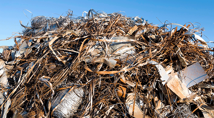 pile of scrap metal wire and strips